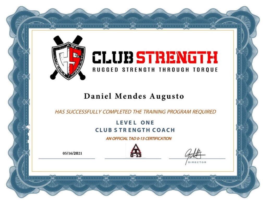 Club Strength Course Certificate